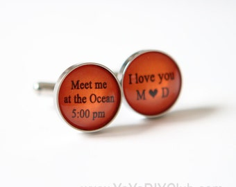 Burnt Orange Wedding gift for groom from bride, Beach Wedding favor, Bride to Groom Gift idea Groom Cuff Links, Personalized Cuff Links