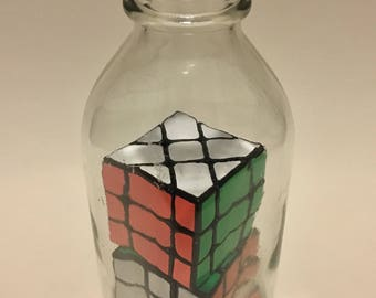 Impossible Bottle - Classic Rubik's Cube and Shape-Twisted Rubik's Cube in Milk Bottle