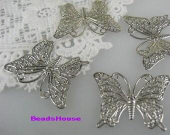 Sale 8pcs Silver Pleatd Butterfly Filigree (25 x 35 mm),Nickel Free
