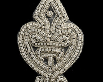 Rhinestone Bead Applique Patch, Bridal Applique, 3-3/4'' x 5-1/2'', TR-10529