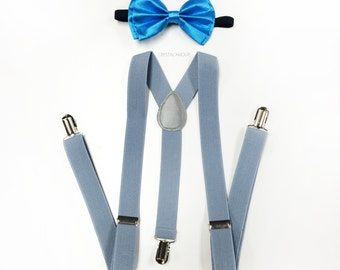 sky blue mens bowtie, mens suspenders, gray suspenders and sky blue bowtie set, mens light blue bowtie, bow tie for children, teens, adults