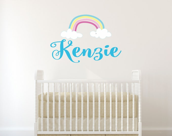 Rainbow, Removable Wall Decal, Vinyl Decals, Nursery Name Sign, Baby Girl Name Signs, Nursery Wall Art, Custom Name, Kids Room Decor, Teen