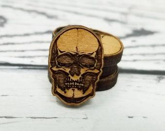Mini Tiny Engraved Wood Skull Skeleton Bone Halloween Gothic | Cabochons Stud Earring Embellishments | Laser Cut