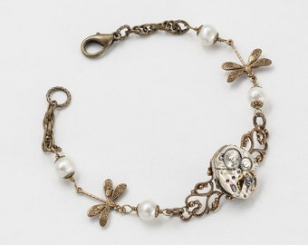 Steampunk Bracelet, Dragonfly Bracelet with Vintage Silver Watch Movement, Gears, Filigree & Pearl on Gold Rope Chain Wedding Jewerly Gift