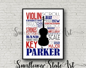 Personalized Violin Poster Typography, Violin Print, Violin Art, Violinist Gift, Custom Violin, Band Gift, Symphony, Orchestra Violin Player