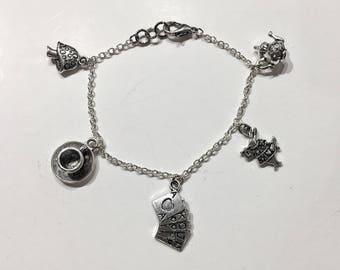Alice in wonderland inspired silver charm bracelet