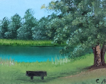 "Original ACEO landscape oil painting STILL RIVER 2.5 X 3.5"""