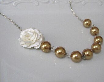 Big sale %10***Ivory flower necklace with pearls - Pearl necklace - Bridal necklace - Bridesmaid necklace