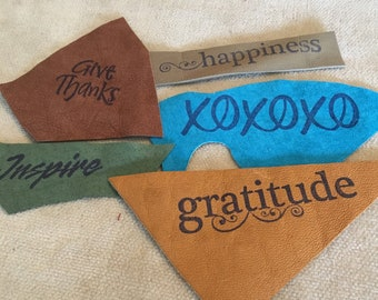 Hand Stamped Leather with Inspirational Words, Variety of Colors Set of 5- Scrapbooks Junk Journals Albums Collage Mixed Media Art, Crafts,