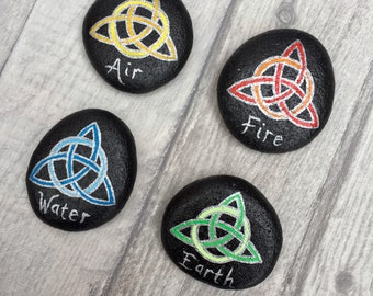 Celtic Knot Triquetra Element Stones - Set of 4 - Earth, Fire, Air, Water
