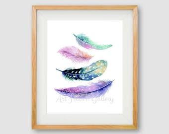 Feathers PRINTABLE, Watercolor Feathers Wall Art, Feather Print, Watercolor Feathers, Minimalist Print, Hipster Print, Lilac Print, Blue Art