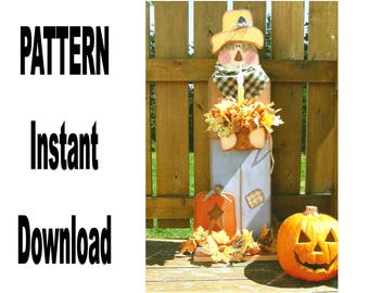 Scarecrow Pattern Wood , Primitive , Halloween , Instant Download , Digital , Printable , Uprint , Fall , Autumn , Pumpkin , Packet