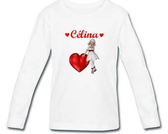 Girl long sleeve vintage teen and heart personalized with name t-shirt