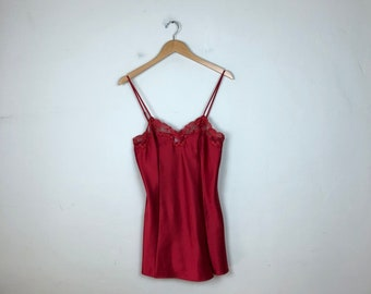 Vintage Red Slip Dress Size Small