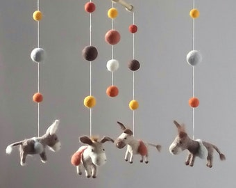 Needle Felted baby mobile Felted Wool mobile Donkey Mobile Nursery Mobile Felted Animal mobile Donkey Crib mobile