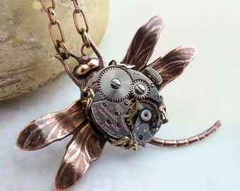 Dragonfly Steampunk necklace,  dragonfly necklace, steampunk jewelry, steampunk dragonfly, steampunk insect, steampunk pendant, fantasy bug