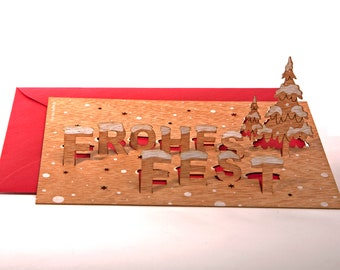 """3 pop up cards wood with envelope - """"Frohes Fest"""" cards"""