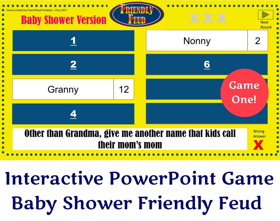 Baby shower friendly feud game one family feud interactive zoom alramifo Choice Image