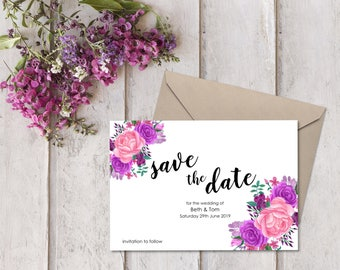 10 Personalised Save the Date Cards with Envelopes - Pretty Pink / Purple Floral Bouquet