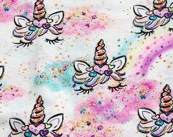 Unicorns 1 yard euro cotton lycra knit new