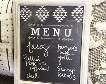 Menu Board, Dry Erase, Aztec, Weekly Menu Planning
