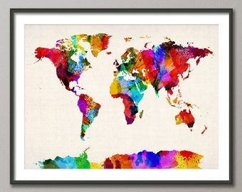 World map painting etsy map of the world map abstract painting art print 460 gumiabroncs Image collections