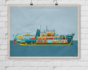 The Life Aquatic with Steve Zissou Poster. Wes Anderson Poster. Movie Art Print. Pop Culture and Modern Home Decor Poster. Item No. 284