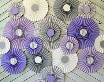 Purple, Lavender and Gray Chevron Set of Seventeen (17)  Paper Rosettes