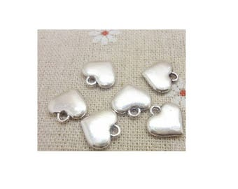 SET of 5 heart charms Silver (B53) full color