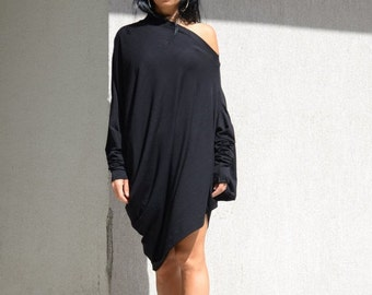Oversized women's dress, comfortable off shoulder dress, loose top, loose short tunic, asymmetric dress, maxi tunic, cotton clothing