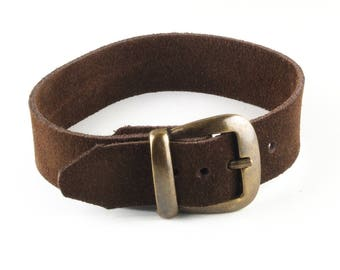 Leather wristband with buckle 11/16 inch wide
