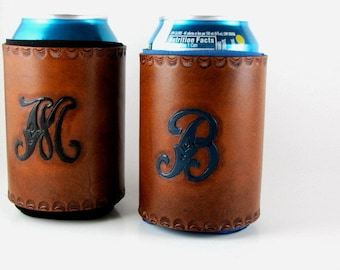 Monogrammed Leather Can Holder Personalized Custom Made to Order Groomsmen Gift Hand Tooled Leather Bridesmaid Gift Beer Beverage Holder