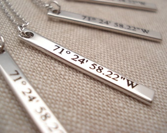Personalized Silver vertical bar necklace...Engraved name plate Bar, sorority, best friend gift, wedding, bridesmaid gift