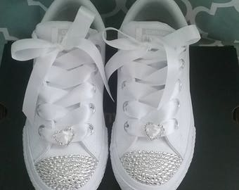 Crystal Converse Big Kids Youth Toddler Satin Laces White Bows Flower Girl Shoes leather mono white