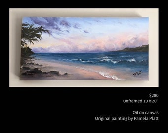 "Original oil painting ""Sunset on the Beach""  by artist Pamela Platt 10 x 20"""