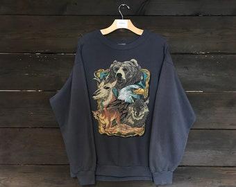 Vintage 90s North American Endangered Species Sweatshirt