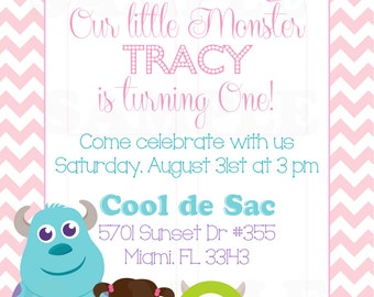 Personalized Monsters Inc Inspired Girls Birthday Invitation & Tags- Printable File