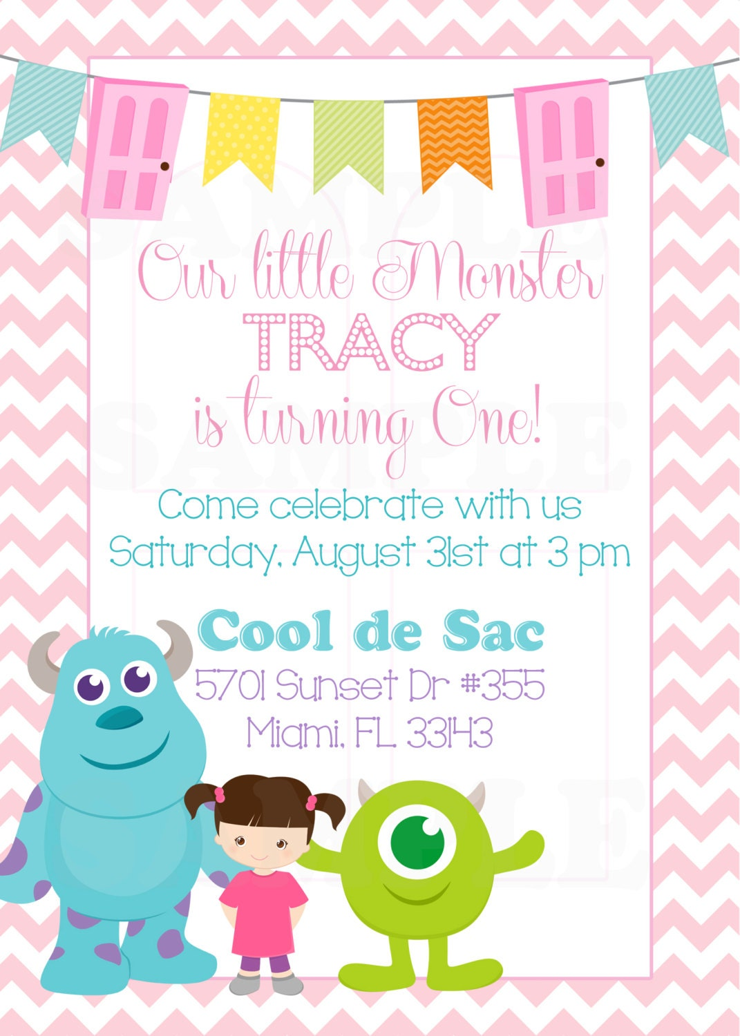 Personalized Monsters Inc Inspired Girls Birthday Invitation &