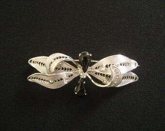 CONTINENTAL Filigree Silver With Pear Shaped Black Onyx Cabochon Stones & Faux Diamond Accents Dragonfly Butterfly Insect Brooch Pin Jewelry