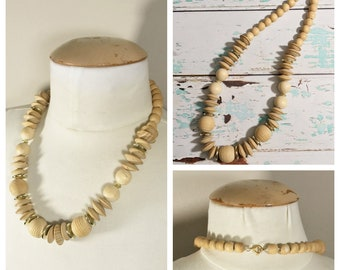 Vintage Wooden Beaded Necklace with Gold Discs // Gold and Wooden Necklace