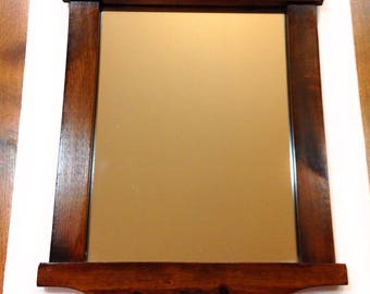 Vintage Colonial Style Wood-Framed Wall Mirror