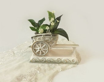 Rubens Chariot Vase, White Green and Gold Ceramic Planter, Cottage Chic Table Decor, Hickok Design