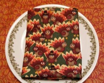 Thanksgiving Turkey Cloth Napkins. 16x16 in size. Set of 4