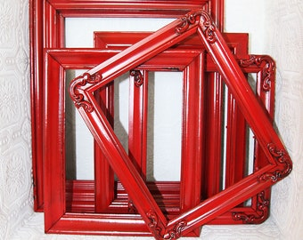 Shabby Chic Vintage Barn Red Hand Painted Distressed Frame Set Made To Order