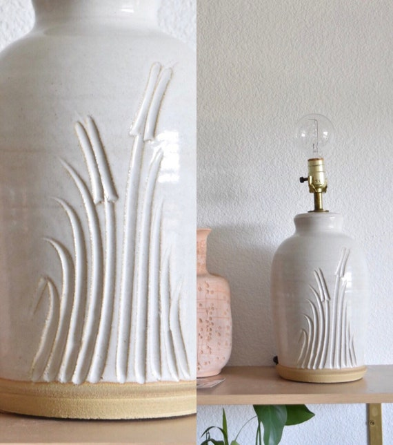 mid century white hand carved floral studio stoneware pottery table lamp