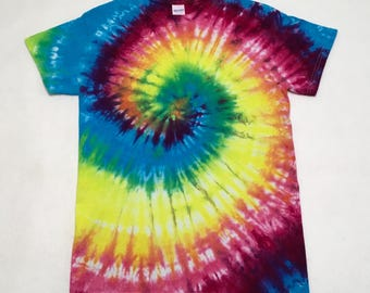 Hand Tie Dyed Adult S Ready to Ship Hippie Retro Small T-Shirt #01291