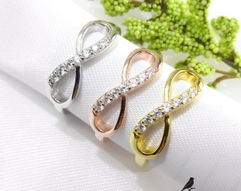 Infinity Ring Cz Gold Vermeil 925 Silver Yellow Rose