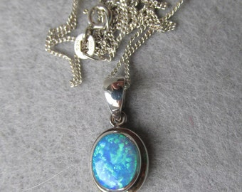 Vintage Lab Created Opal Sterling Silver Pendant Necklace