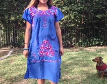 Oaxaca dress,embroidered cotton dress, medium, Muumuu dress,embroidered flowers, BoHo dress,blue,Pink,white,M