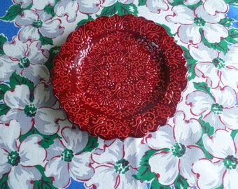 Turkish Ceramic Plate, 7 inch  plate, salad plate, side plate, red relief plate, wall art